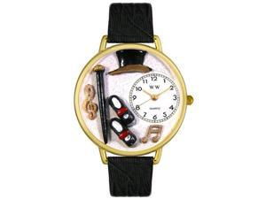 Tap Dancing Black Skin Leather And Goldtone Watch #G0420007