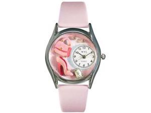 Shopper Mom Pink Leather And Silvertone Watch #S1010007