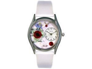 Birthstone: July White Leather And Silvertone Watch #S0910007
