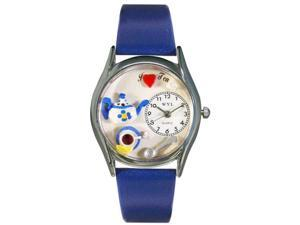 Tea Lover Royal Blue Leather And Silvertone Watch #S0310010
