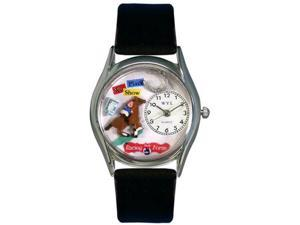 Horse Racing Black Leather And Silvertone Watch #S0810007