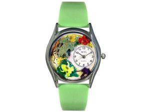Frogs Green Leather And Silvertone Watch #S0140003