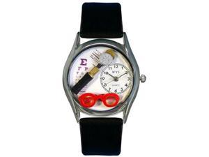 Opthamologist Black Leather And Silvertone Watch #S0610015