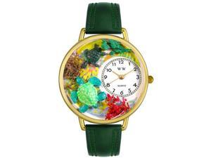 Turtles Hunter Green Leather And Goldtone Watch #G0140003