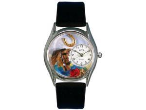 Horse Head Black Leather And Silvertone Watch #S0110007