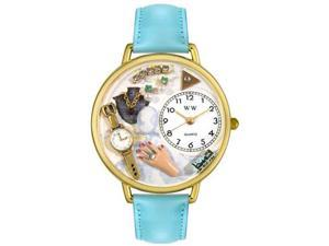 Jewelry Lover Blue Baby Blue Leather And Goldtone Watch #G1010010