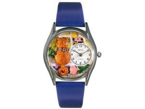 Aristo Cat Royal Blue Leather And Silvertone Watch #S0120007