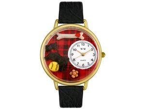 Scottie Black Skin Leather And Goldtone Watch #G0130067