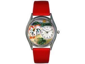 Rooster Red Leather And Silvertone Watch #S0110004