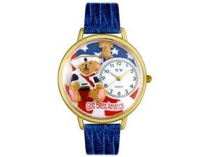 Patriotic Teddy Bear Royal Blue Leather And Goldtone Watch #G0230004