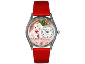 Christmas Puppy Red Leather And Silvertone Watch #S1221010
