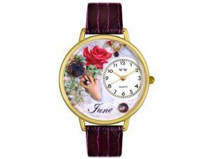 Birthstone: June Purple Leather And Goldtone Watch #G0910006