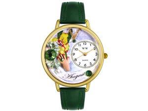 Birthstone: August Hunter Green Leather And Goldtone Watch #G0910008