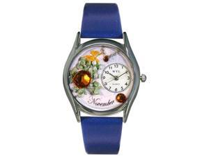 Birthstone: November Royal Blue Leather And Silvertone Watch #S0910011
