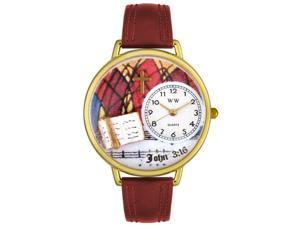 John 3:16 Burgundy Leather And Goldtone Watch #G0710002