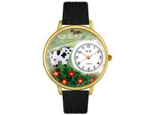 Cow Black Skin Leather And Goldtone Watch #G0110018