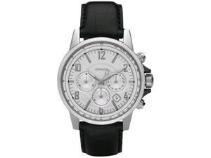 DKNY Men's NY1463 Black Leather Quartz Watch with Silver Dial