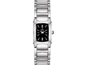 Bulova Women's 96P110 Silver Stainless-Steel Quartz Watch with Black Dial