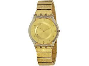 Swatch Women's Skin Classic Gold Dial Gold Tone Ion Plated Stainless Steel