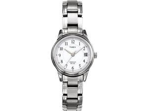 Timex Women's T29271 Silver Stainless-Steel Quartz Watch with White Dial