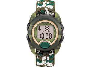 Timex Children's T71912 Green Cloth Quartz Watch with Grey Dial