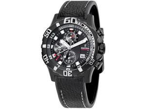 Festina Men's F16289/2 Black Leather Quartz Watch with Black Dial