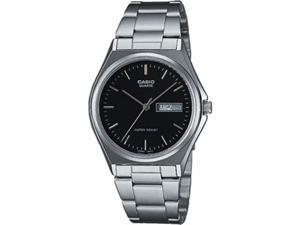 Casio Men's MTP1240D-1A Silver Stainless-Steel Quartz Watch with Black Dial