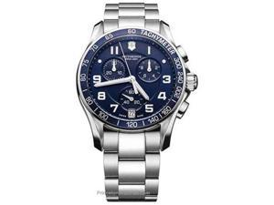 Swiss Army Men's 241497 Silver Stainless-Steel Swiss Quartz Watch with Blue Dial