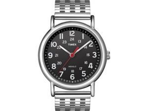 Timex Men's Weekender T2N655 Silver Stainless-Steel Quartz Watch with Black Dial
