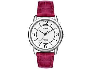 Timex Women's T2N689 Red Leather Quartz Watch with White Dial