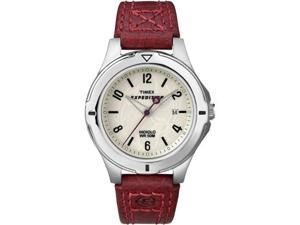 Timex Women's Expedition T49855 Pink Calf Skin Analog Quartz Watch with White Dial
