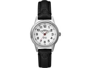 Timex Women's Expedition T49872 Black Leather Quartz Watch with White Dial