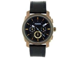 Fossil Men's FS4657 Black Leather Analog Quartz Watch with Black Dial