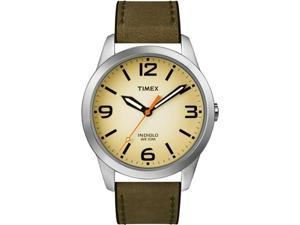 Timex Men's Weekender T2N632 Green Calf Skin Analog Quartz Watch with Beige Dial