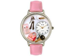Teen Girl Pink Leather And Silvertone Watch #U1610008