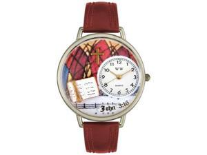 John 3:16 Burgundy Leather And Silvertone Watch #U0710002