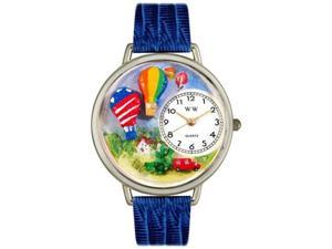Hot Air Balloons Royal Blue Leather And Silvertone Watch #U1610010