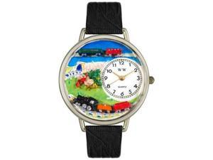 Trains Black Skin Leather And Silvertone Watch #U1610013