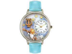 Angel with Harp Baby Blue Leather And Silvertone Watch #U0710004