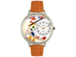 Artist Tan Leather And Silvertone Watch #U0410002