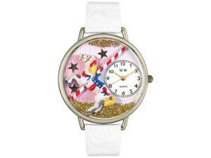 Carousel White Leather And Silvertone Watch #U0420003
