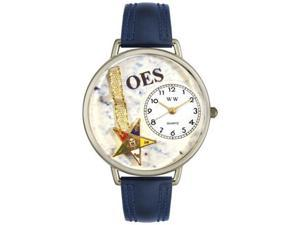 Order of the Eastern Star Navy Blue Leather And Silvertone Watch #U0710010