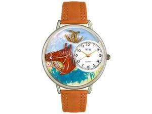 Horse Head Tan Leather And Silvertone Watch #U0110005