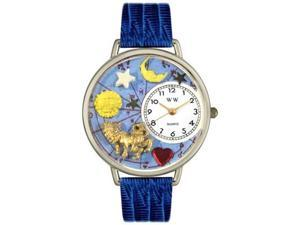Leo Royal Blue Leather And Silvertone Watch #U1810007