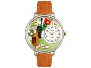 Golf Bag Tan Leather And Silvertone Watch #U0810002