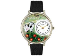Cow Black Skin Leather And Silvertone Watch #U0110018