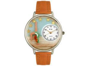 Gymnastics Tan Leather And Silvertone Watch #U0810014