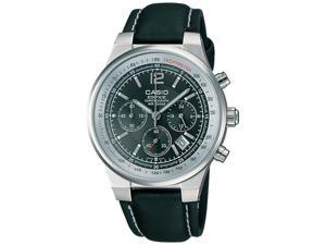 Casio Men's EF500L-1AV Black Leather Quartz Watch with Black Dial