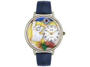 Bad Cat Navy Blue Leather And Silvertone Watch #U0120003