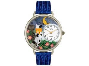Cats Night Out Royal Blue Leather And Silvertone Watch #U0120009